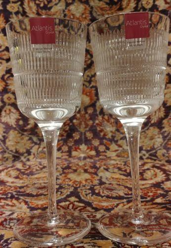 "2 Vista Alegre Atlantis Crystal Vendome White Wine Stems 7 3/8"" Unused - $67.28"