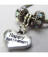 Happy Retirement European Heart Charm And Birthstones For Charm Bracelets - $22.00