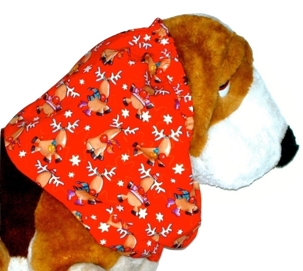 Primary image for Christmas Holiday Reindeer Red Cotton Dog Snood by Howlin Hounds Puppy SHORT
