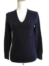 Tommy Hilfiger Womens Navy Blue V-Neck Pima Cotton Blend Sweater Size S/P - $17.99