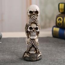 Resin Skull Statue Figurines Craft Sculpture Vintage Home Decoration Orn... - $21.49