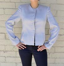 Giorgio Armani Black Label Raise Stripe Silver Grey Jacket Womens 38 Italy image 3