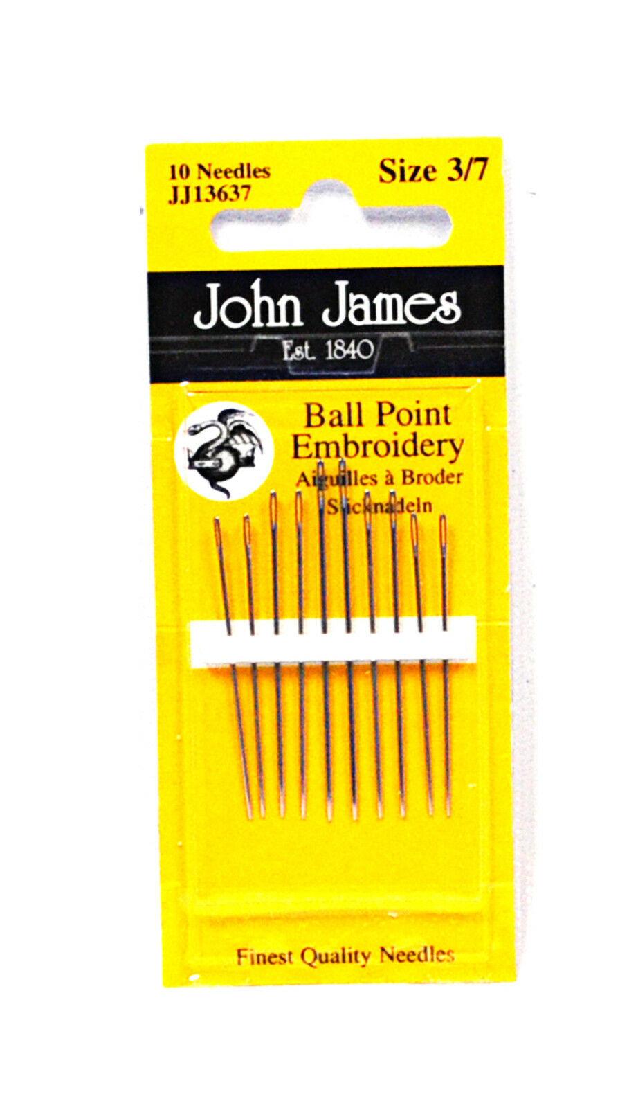 John James Stickerei Kugelspitze Nadeln Verschiedene Größen 3/7