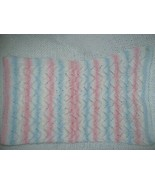 Multicolored Hand Knitted Crochet Baby Blanket Blue Pink White - $27.40