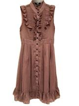 Twenty Ońe Romantic Sleeveless Ruffle Taupe w/Black Polka Dots Dress Siz... - $9.65