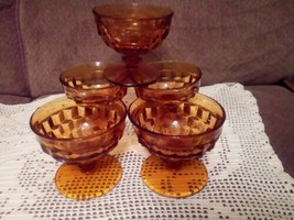 Indiana Glass Amber Colony Cubist Whitehall Sherbet Glasses Set Of 5. - $9.86