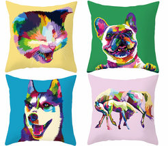 Symphony animal pillow cover, throw pillowcase, square decor cushion cov... - $23.99