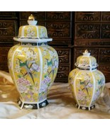 2- VINT. Yellow w Birds Porcelain Decorative or Cremation URNS Adult & S... - $38.61