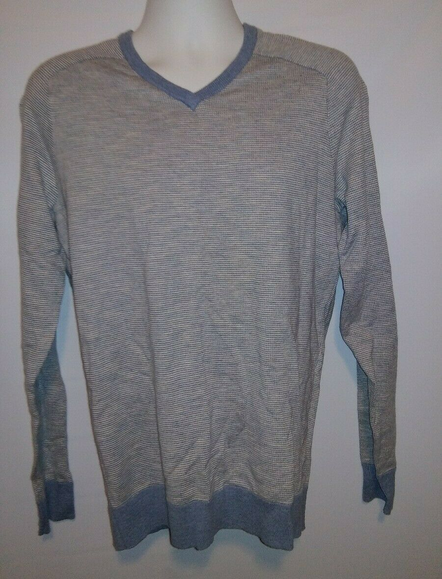 NEW $98 BLOOMINGDALES MEDIUM HEATHER GRAY COTTON CASHMERE BLEND V-NECK SWEATER