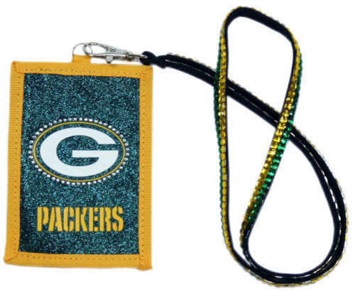 GREEN BAY PACKERS BEADED LANYARD ID CREDIT CARD ZIPPER POCKET WALLET FOOTBALL
