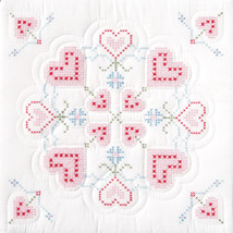 "Jack Dempsey Stamped White Quilt Blocks 18""X18"" 6/Pkg-XX Hearts - $17.73"