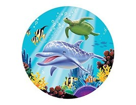 Dolphin Under the Sea Edible Cake Topper Image Cupcakes Ocean Baby Showe... - $11.75
