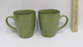 Gibson Coffee Cups Mugs Avocado Green Bamboo Style Everyday Pair Set of 2 - $19.79