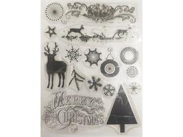 Elegant Christmas Stamp Set, Includes Ornaments, Snowflakes, Deer & More