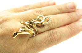 Chocolate Brown Gold Rhinestone Wide Fashion Leaf Ring Sz 8 - $19.00