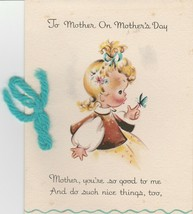 Vintage Mother's Day Card Girl with Butterfly Eve Rockwell 1946 Hallmark - $14.84