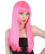 Women's Long Length Party Girl Wig -  Electric Pink Synthetic Fiber Hair - £24.88 GBP