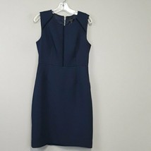 J.Crew size 8 Navy crochet open trim Sheath Dress Sleeveless Casual Carr... - $35.97