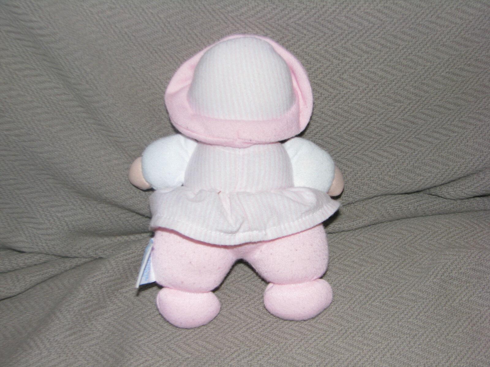 EDEN STUFFED PLUSH CLOTH BABY GIRL DOLL RATTLE HEART TERRY WHITE PINK POLKA DOT