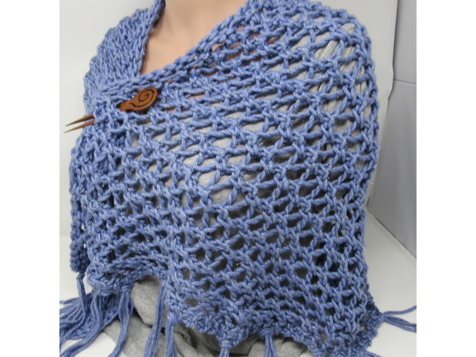 Handcrafted Knitted Shawl Blue Lace Fringes Female Adult