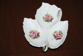 NAPCO China S831S tidbit tray pink carnation designs on a leaf style tray - $3.96
