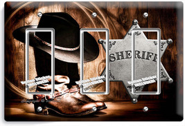 Country Cowboy Boots Hat Lasso Sheriff Star 3 Gang Gfci Light Switch Plate Decor - $16.19