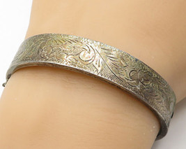 925 Sterling Silver - Vintage Tribal Etching Hinged Cuff Bracelet - B3013 - $70.58