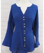 Soft Surrounding Crinkled Gauze Shirt Royal Blue Tunic Top  Large 14/16 ... - $58.41
