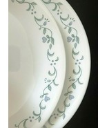 Corelle COUNTRY COTTAGE Dinner Plates  *Blue Hearts Green Vines EUC (Set of 2) - $13.85