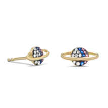 Sterling Silver Mini Planet Stud Earrings with multi color stones.  - $35.00