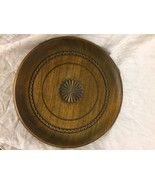 decorative wooden plate with carved design - $2.97