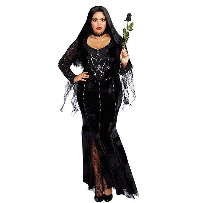 Dreamgirl Frightfully Beautiful Addams Adult Plus Size Halloween Costume 10639X