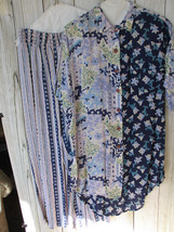 Women's Vintage Intentions Top Shirt & Wide Leg Split Skirt Pants Set Size M - $21.16