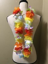 "(12) Jumbo 3"" RAINBOW Flower LEI Hawaiian Luau Beach Party Hula Dancer c... - $63.55 CAD"
