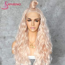 Sapphirewigs Long Rose Gold Blonde Color Natural Curly Daily Makeup Heat... - $43.99