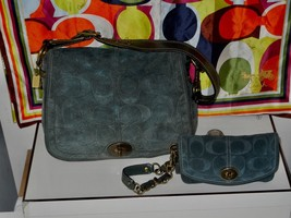 Coach Legacy Embossed Teal Signature Suede Set - XL Flap 11138 & Wristlet 40714 - $149.99