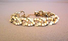 Vintage CORO Faux Pearl Leaves Link Bracelet Goldtone - $39.95