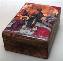 Handmade Christian Greek Orthodox Wooden Wood Box with the Ressurection / R33_3 - $35.24