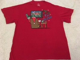 Men's Christmas Red Tshirt Sz XL 46-48 Tis The Season Santa Football TV ... - $14.00