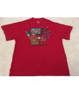 Men's Christmas Red Tshirt Sz XL 46-48 Tis The Season Santa Football TV ... - $14.00