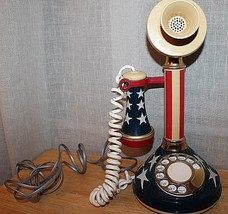 Vintage Deco Tel Red White & Blue Candlestick Rotary Dial Telephone 4102 - $39.85