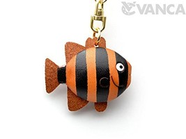 Striped Fish Sea Animal 3D Leather KeychainL VANCA CRAFT-Collectible Key... - $28.23