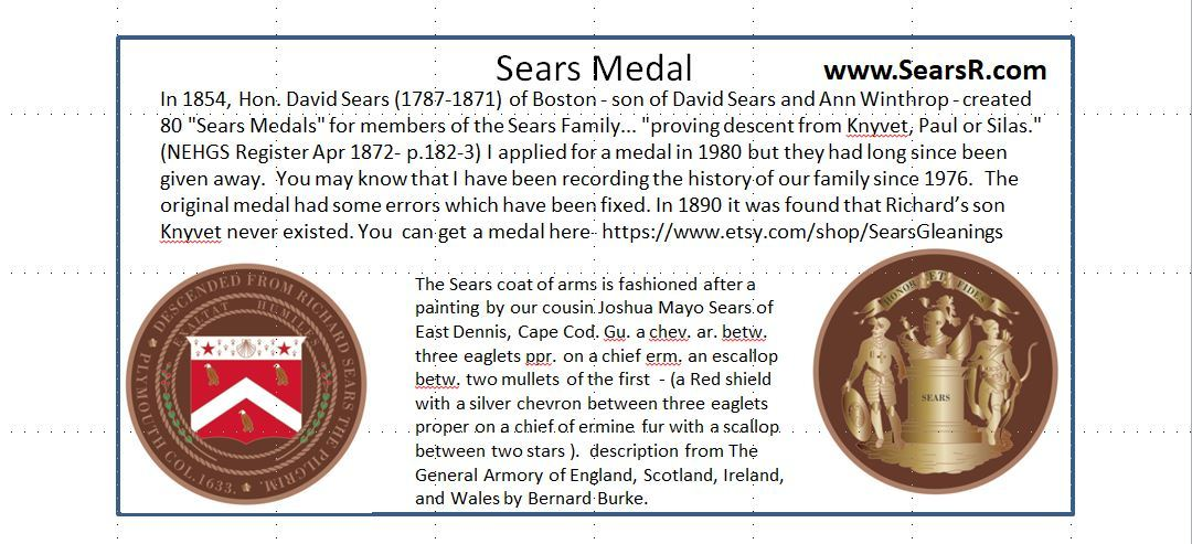 Sears Medal- vintage reproduction