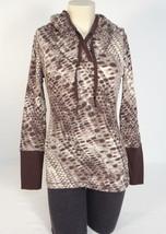 Calvin Klein Animal Print Hooded Quick Dry Pullover Top Shirt Women's Medium M - $44.54