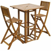 vidaXL Solid Acacia Wood Outdoor Bar Set Restaurant Cafe Pub Table Chair... - $185.99