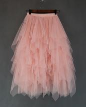Women's Sweet High Waist Hi-lo Tiered Tulle Layered Ruffle Mesh Long Tier Skirt image 7