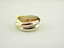 Cartier 750 18k Rollkoffer Ring 3 Bänder Dreifarbiges Größe Eu 51 US 5.75 - $881.05