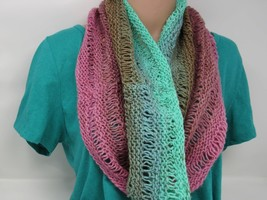 Handcrafted Knitted Cowl Wrap Shawl 100% Merino Wool Female Adult Multi-... - $53.20