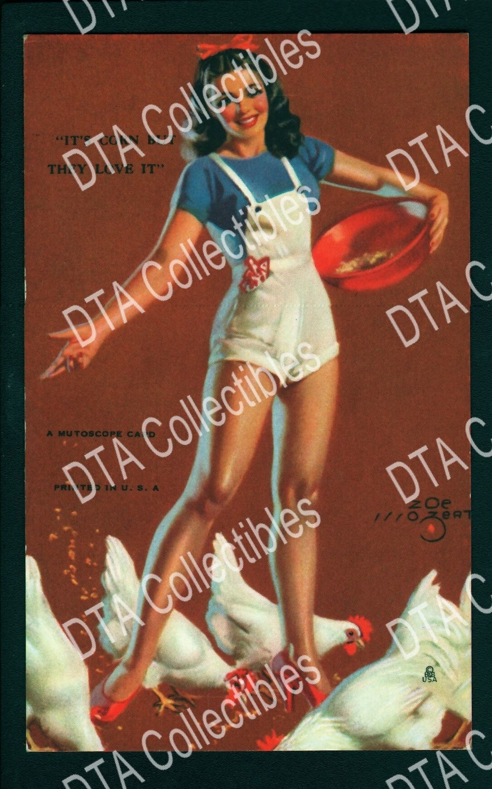 Primary image for MUTOSCOPE-PIN-UP-ARCADE CARD-1945-ZOE MOZERT-CHICKENS VF/NM