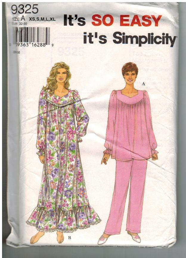 Simplicity Sewing Pattern #9325 Misses' Nightgown and Pajamas Size A XS S M L XL